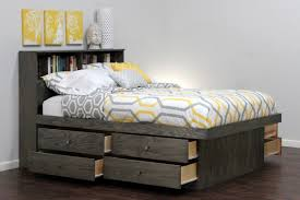 Grey Wood Bedroom Furniture Full Size Platform Bed With Storage Collection Small Bedroom