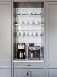 where to buy glass shelves for kitchen cabinets kitchen coffee station nook with floating glass shelves