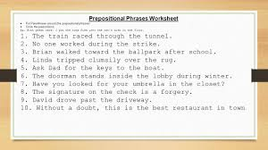 Preposition Practice Worksheets Day 3 U2013 Honors Prepositions And Annotations Ppt Download