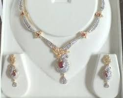 diamond set american diamond necklace set design fashion jewellery