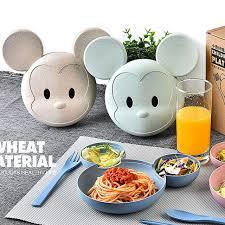 cuisine mickey wheat straw fiber mickey dinner plate flatware monkey