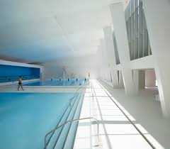 restructuring and extension of swimming pool in bagneux arcdog the incline of the structure is emphasised the subtle play of oblique lines also adds a contemporary touch