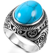 rings for men in pakistan buy oval opal turquoise ring for men online in pakistan