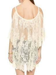 large discount white cold shoulder flare sleeve sheer lace beach