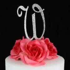 w cake topper letter w cake topper monogram 5 inch silver rhinestone