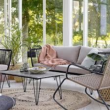assise canapé canapé de jardin pieds épingle métal et assise bloomingville