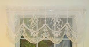 White Lace Shower Curtain With Valance by Lace Valances Balloon Shades Swags M Valances