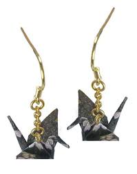 origami earrings mayu women s paper crane japanese traditional origami