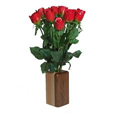 wooden roses wooden vase rectangular vase just paper roses