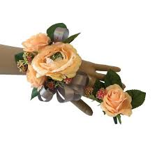 Corsage And Boutonniere Set Colorful Artificial Flower Wedding Bouquet Corsage Corsage
