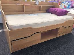 single bed frame with storage drawers and shelves oak almeria by