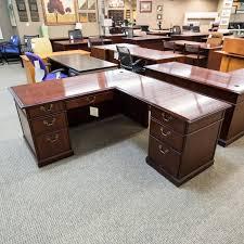 kimball president executive desk used kimball left l shaped executive fice desk walnut del1522