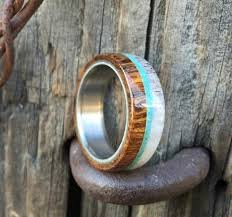 mens wooden wedding bands the banner wood wedding band with antler and turquoise