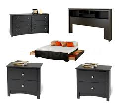 Bed Set With Drawers by Prepac Sonoma 5 Pc Platform Storage Bedroom Set Black