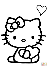 hello kitty with a heart coloring page free printable coloring pages