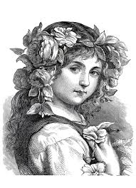 photo engraving free coloring page coloring engraving flower girl 1868