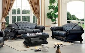 reclining sofa and loveseat set esf apolo black genuine leather sofa loveseat set 2pcs contemporary