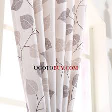 Leaf Design Curtains Natural Linen Cotton Blend Fabric Modern Country Curtain Printed
