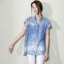 women plus size shirt loose sundress cotton tops blue r 00675