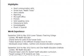 Sample Public Health Resume by Public Health Educator Resume Reentrycorps