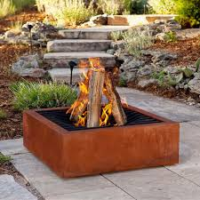 Real Flame Fire Pit - real flame agave corten wood burning fire pit outside