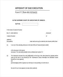 sample execution affidavit form 8 documents in word pdf