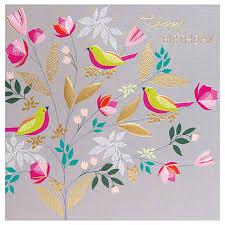 buy sara miller happy birthday birds greeting card john lewis