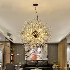 Low Voltage Pendant Lighting Creative Dandelion Chandeliers Firework Led Light Branch Pendant