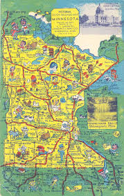 Map Minnesota Postcardy The Postcard Explorer Pictorial Quick Mileage Map