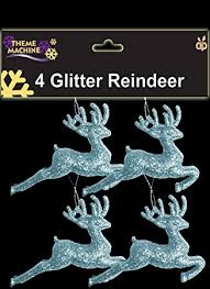 Reindeer Christmas Tree Decorations Uk by Pack Of 4 9 5cm Ice Blue Glitter Reindeer Christmas Decorations