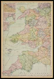 Map Of South Map Of South West England And Wales Circa 1897