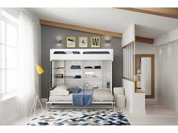 twin over full wall murphy bunk bed with table castello