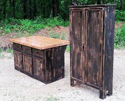 distressed kitchen island with matching pantry