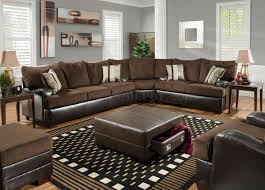 Leather With Fabric Sofas Brown Godiva Fabric Modern Sectional Sofa W Bonded Leather Base