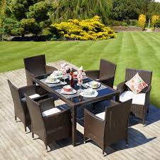 Rattan Patio Dining Set by 7 Piece Dining Table Set With 6 Cube Chairs In Brown Rattan Cube