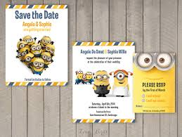 Date Invitation Card Minion Wedding Invitation Set Save The Date By Sophieslovebirds