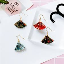 japan earrings retro made folding paper fan earrings japan and south korea
