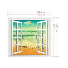 ocean view pag 3d artificial window wall decals sea beach room