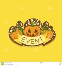 cute happy halloween logo halloween event template label cute sticker stock illustration