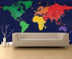 dark oceans world political map wall mural miller projection dark oceans world political map wall mural in room