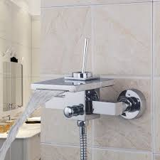 in wall two functions embedded box thermostatic mixer valve three wall mounted bathroom faucet bath tub mixer tap w hand shower head shower faucet