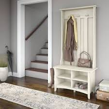 white hall tree w storage shelves shoe bench entryway foyer coat