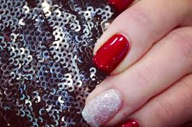 red gel nails with silver rockstar glitter accent nail designs