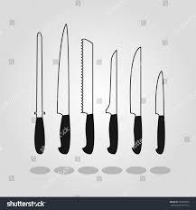 set of kitchen knives set kitchen knives flat pictogram transparent stock vector