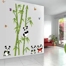 stickers panda chambre bébé panda tree bamboo birds white clouds wall stickers for