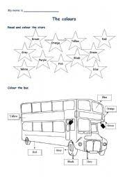 worksheet colour bus