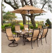 Patio Furniture Set With Umbrella - hanover monaco7pcsw monaco 7 piece outdoor dining set 4 dinning