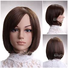 hairdo meck length hot sale synthetic fiber side swept bang brown neck length