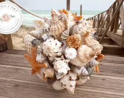 wedding bouquets with seashells shell bouquet etsy