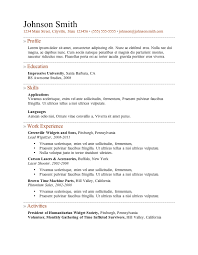 Sample Activities Resume by Simple Sample Resume Format Basic Resume Format Service Resume
